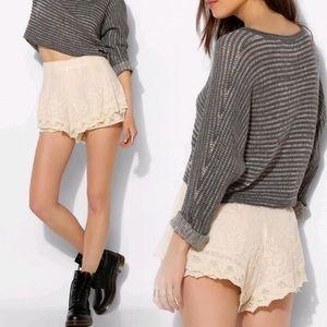 UO Kimchi Blue Lace Crochet Ivory Zipper Shorts